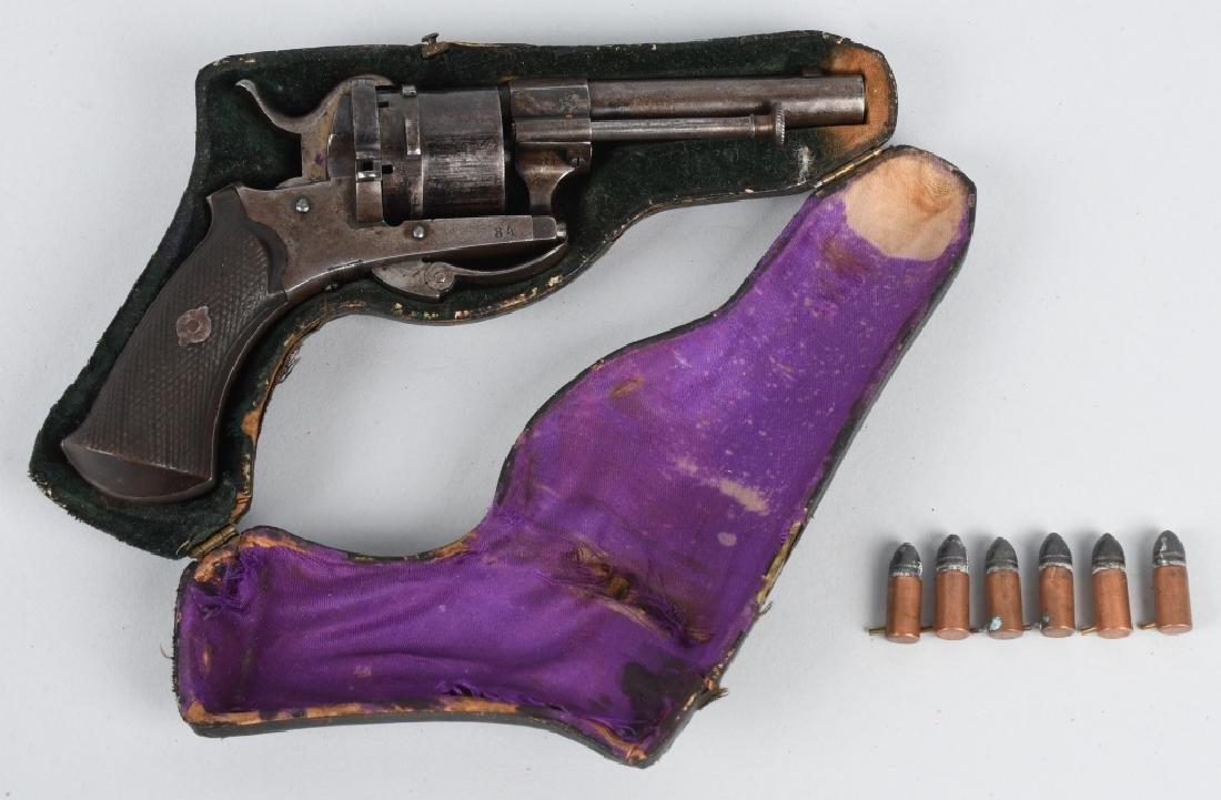 ANTIQUE LeFAUCHEUX TYPE 7mm PIN FIRE w/ CASE