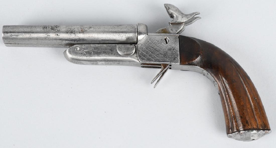 ANTIQUE DOUBLE BARREL 9mm PIN FIRE PISTOL - 2