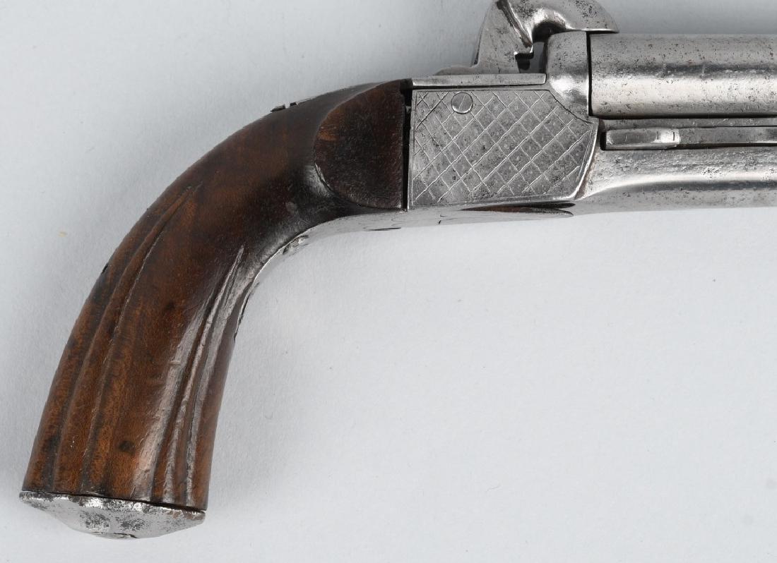 ANTIQUE DOUBLE BARREL 9mm PIN FIRE PISTOL - 6