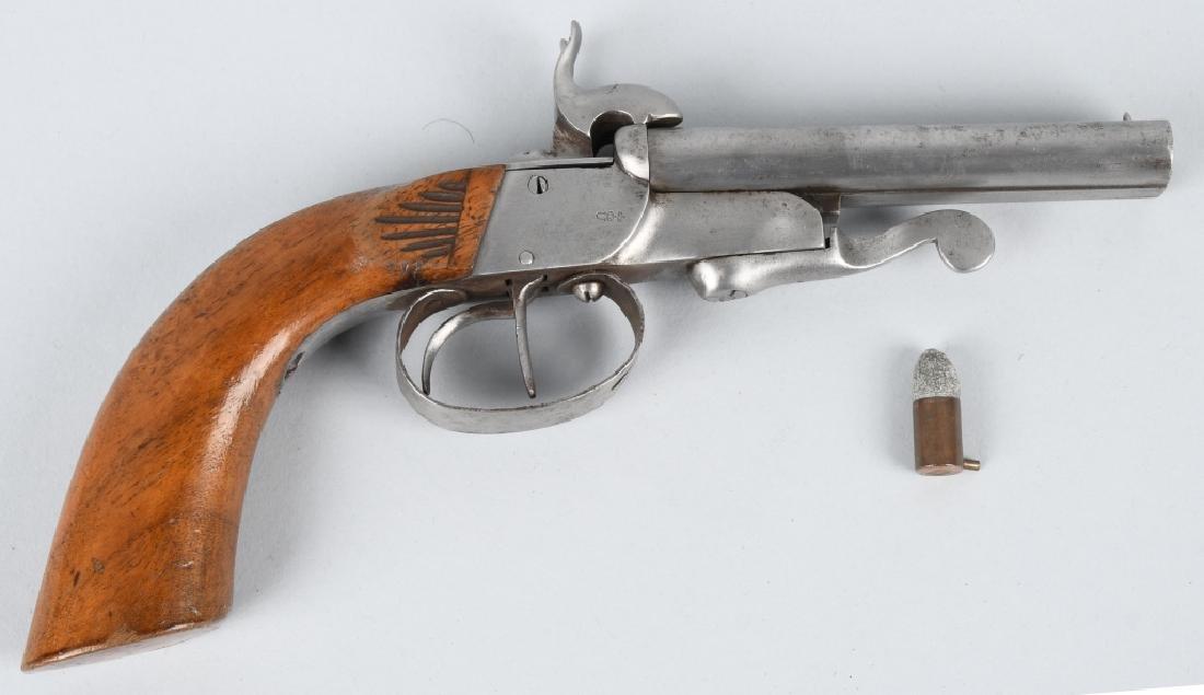 ANTIQUE DOUBLE BARREL 9mm PIN FIRE PISTOL