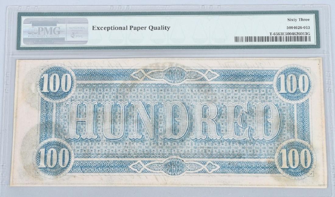 CONFEDERATE 1864 $100 NOTE, PMG GRADED UNC 63 - 2