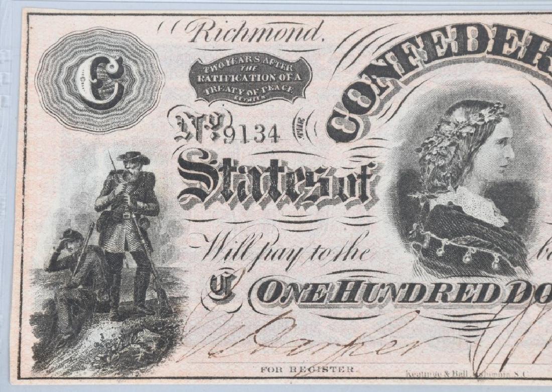 CONFEDERATE 1864 $100 NOTE, PMG GRADED UNC 63 - 3