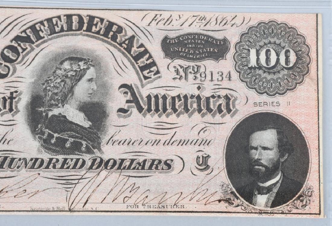 CONFEDERATE 1864 $100 NOTE, PMG GRADED UNC 63 - 4