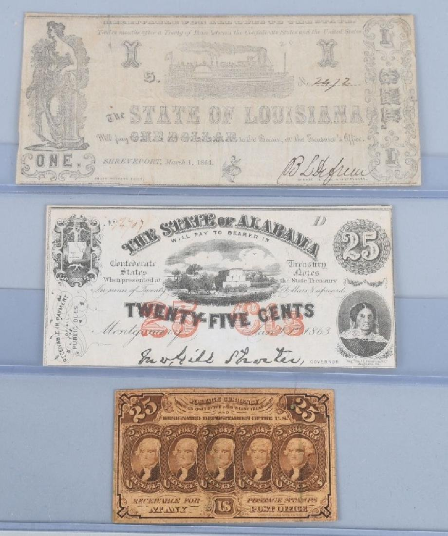 3-CIVIL WAR CONFEDERATE & POSTAGE CURRENCY NOTES