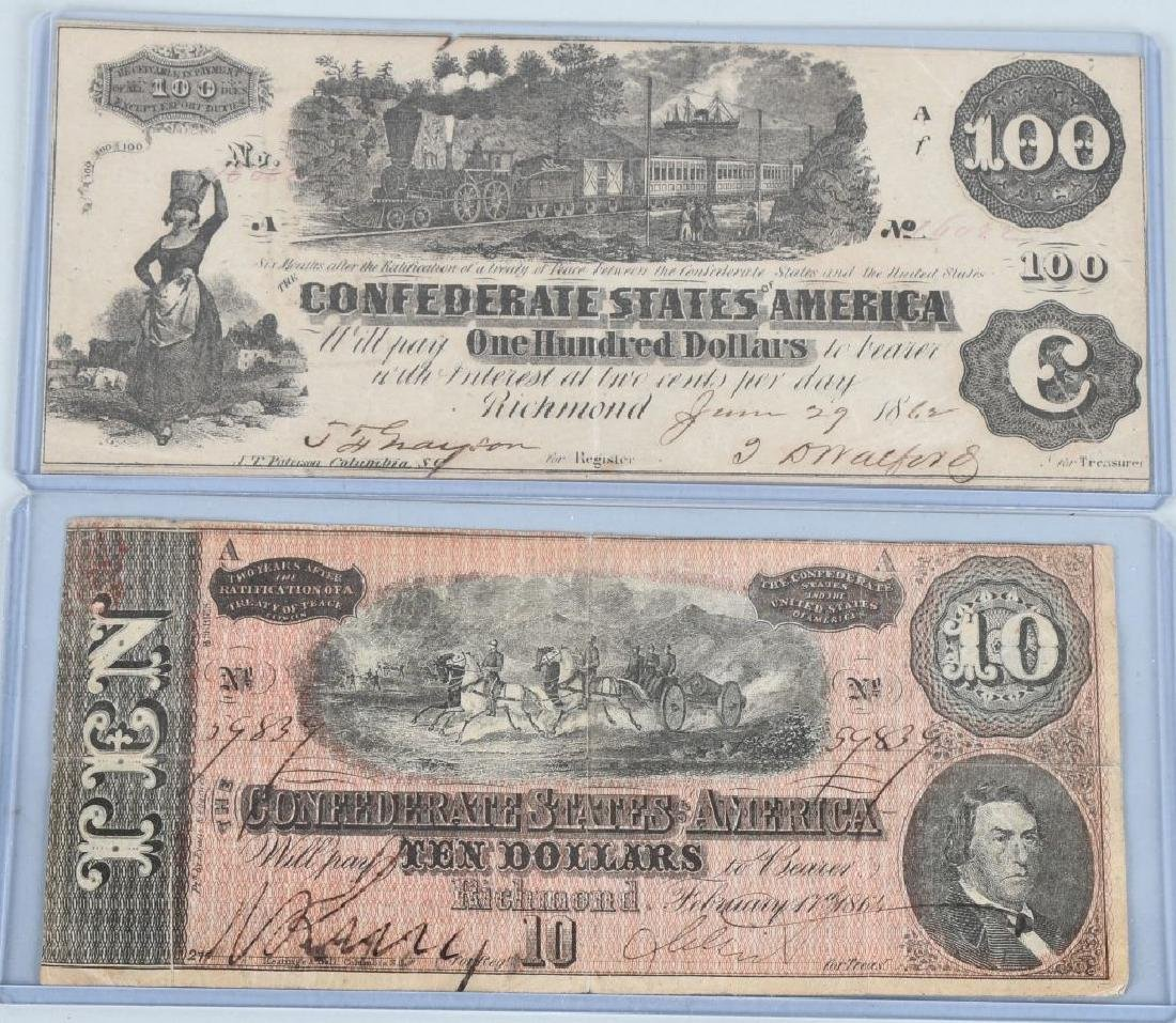 2-CIVIL WAR CONFEDERATE NOTES, $100 & $10