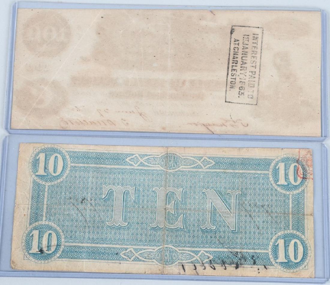 2-CIVIL WAR CONFEDERATE NOTES, $100 & $10 - 2