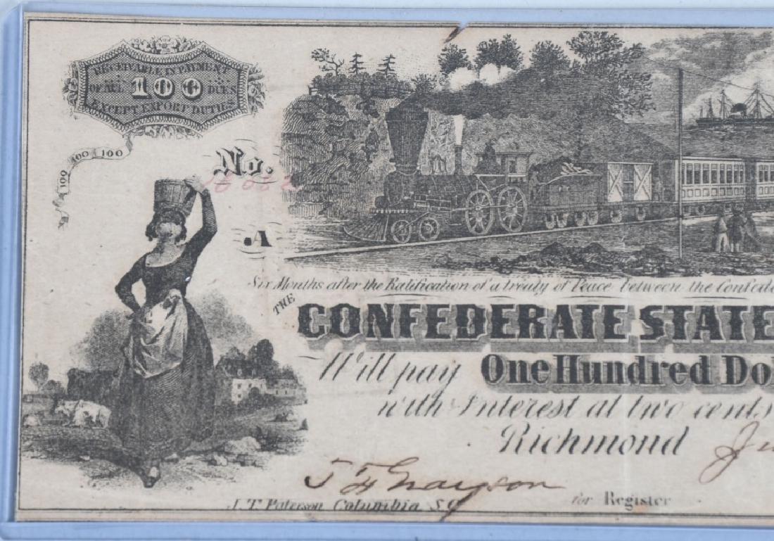 2-CIVIL WAR CONFEDERATE NOTES, $100 & $10 - 3