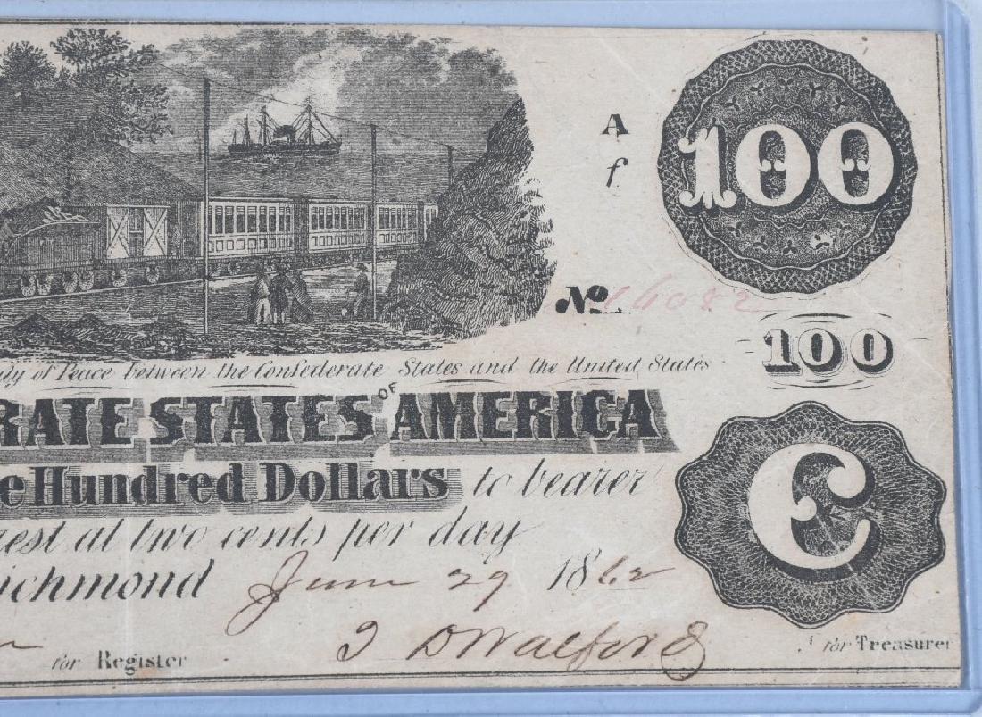 2-CIVIL WAR CONFEDERATE NOTES, $100 & $10 - 4