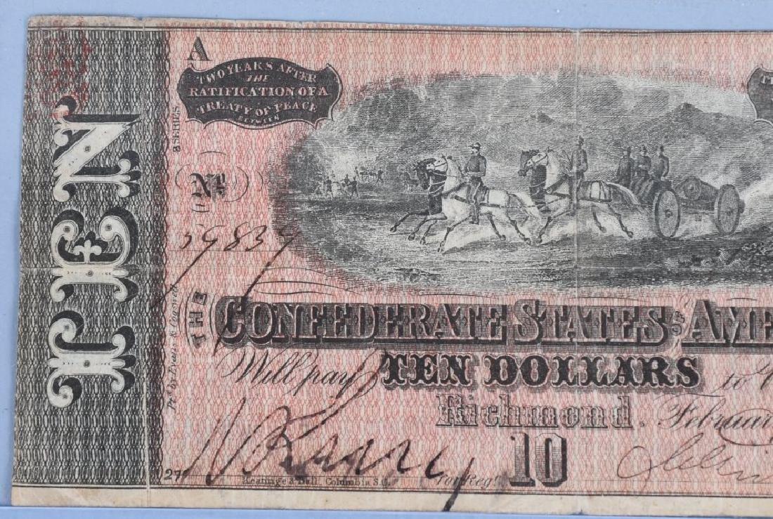 2-CIVIL WAR CONFEDERATE NOTES, $100 & $10 - 6