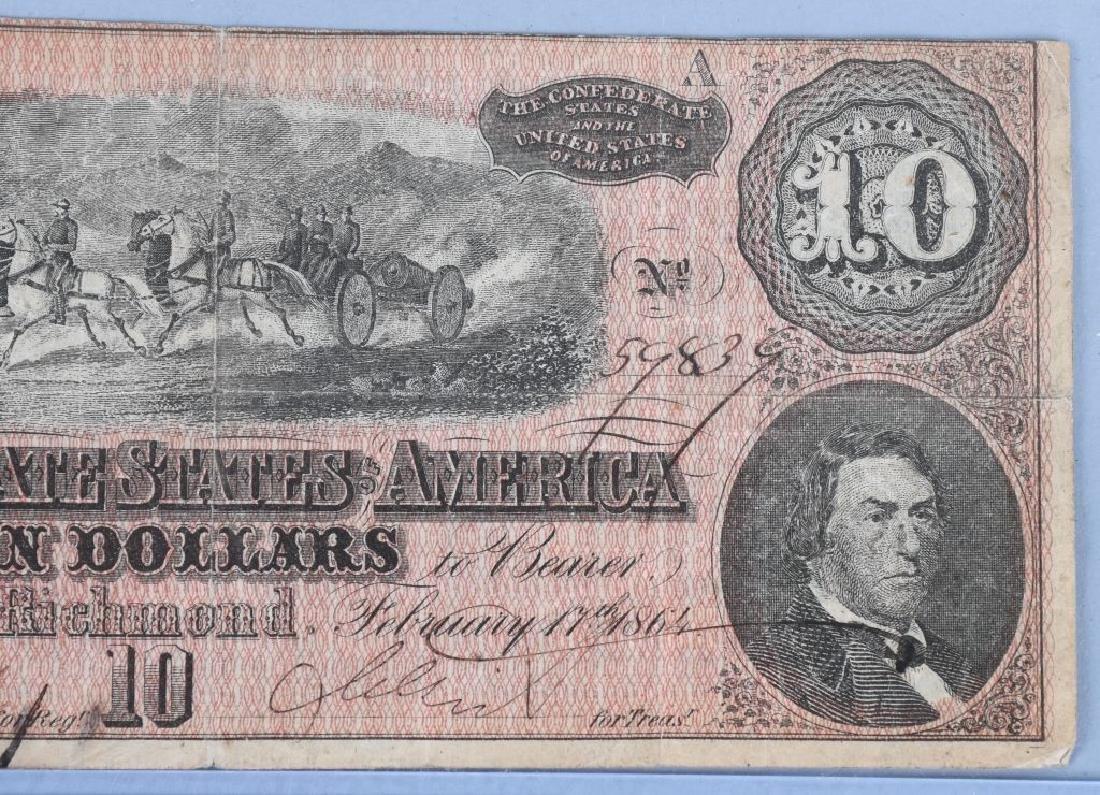 2-CIVIL WAR CONFEDERATE NOTES, $100 & $10 - 7