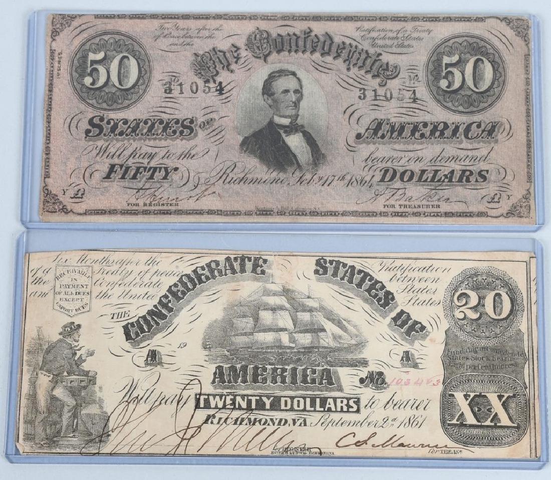 2-CIVIL WAR CONFEDERATE NOTES, $50 & $20