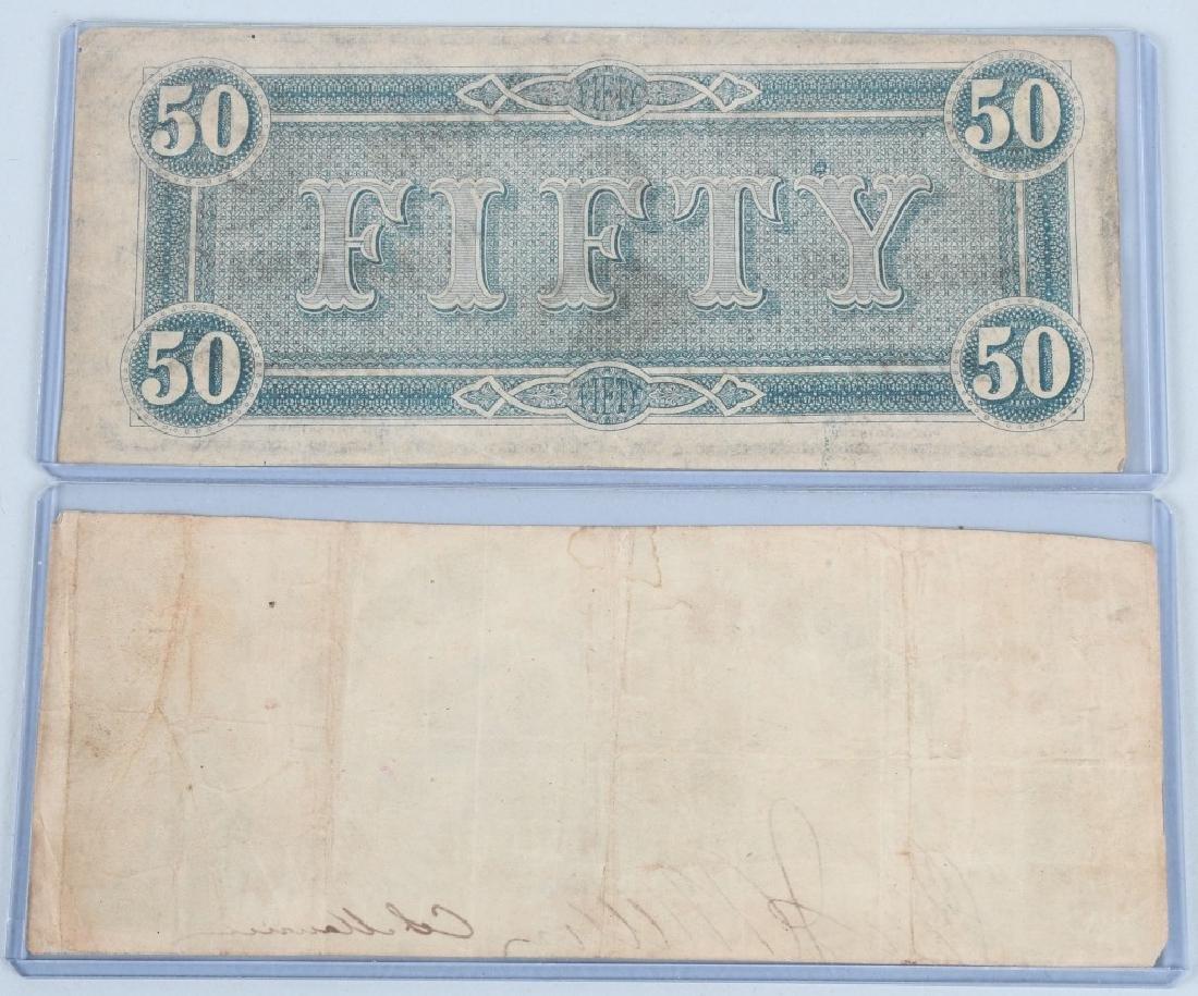 2-CIVIL WAR CONFEDERATE NOTES, $50 & $20 - 2