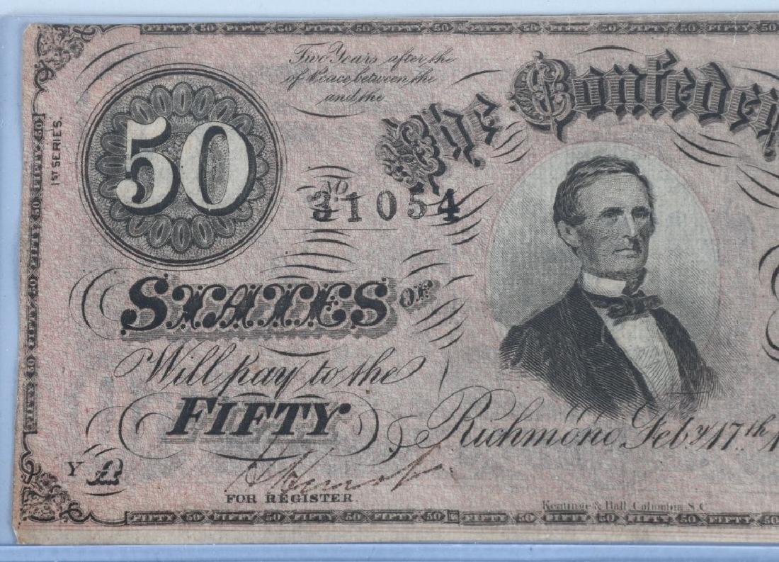 2-CIVIL WAR CONFEDERATE NOTES, $50 & $20 - 3