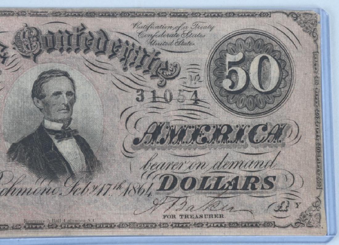 2-CIVIL WAR CONFEDERATE NOTES, $50 & $20 - 4