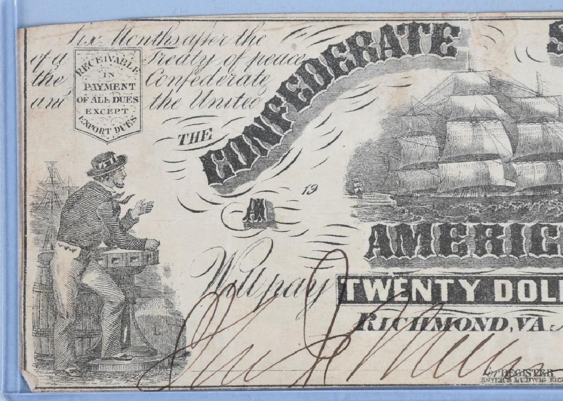 2-CIVIL WAR CONFEDERATE NOTES, $50 & $20 - 5