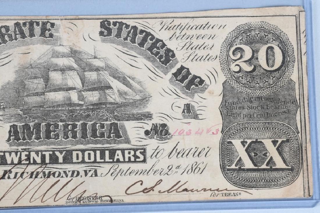2-CIVIL WAR CONFEDERATE NOTES, $50 & $20 - 6