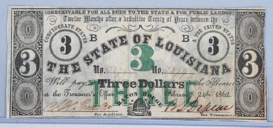3-CIVIL WAR STATE of LOUISIANA NOTES, 1862 - 5