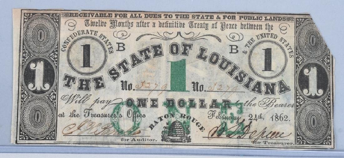 3-CIVIL WAR STATE of LOUISIANA NOTES, 1862 - 7