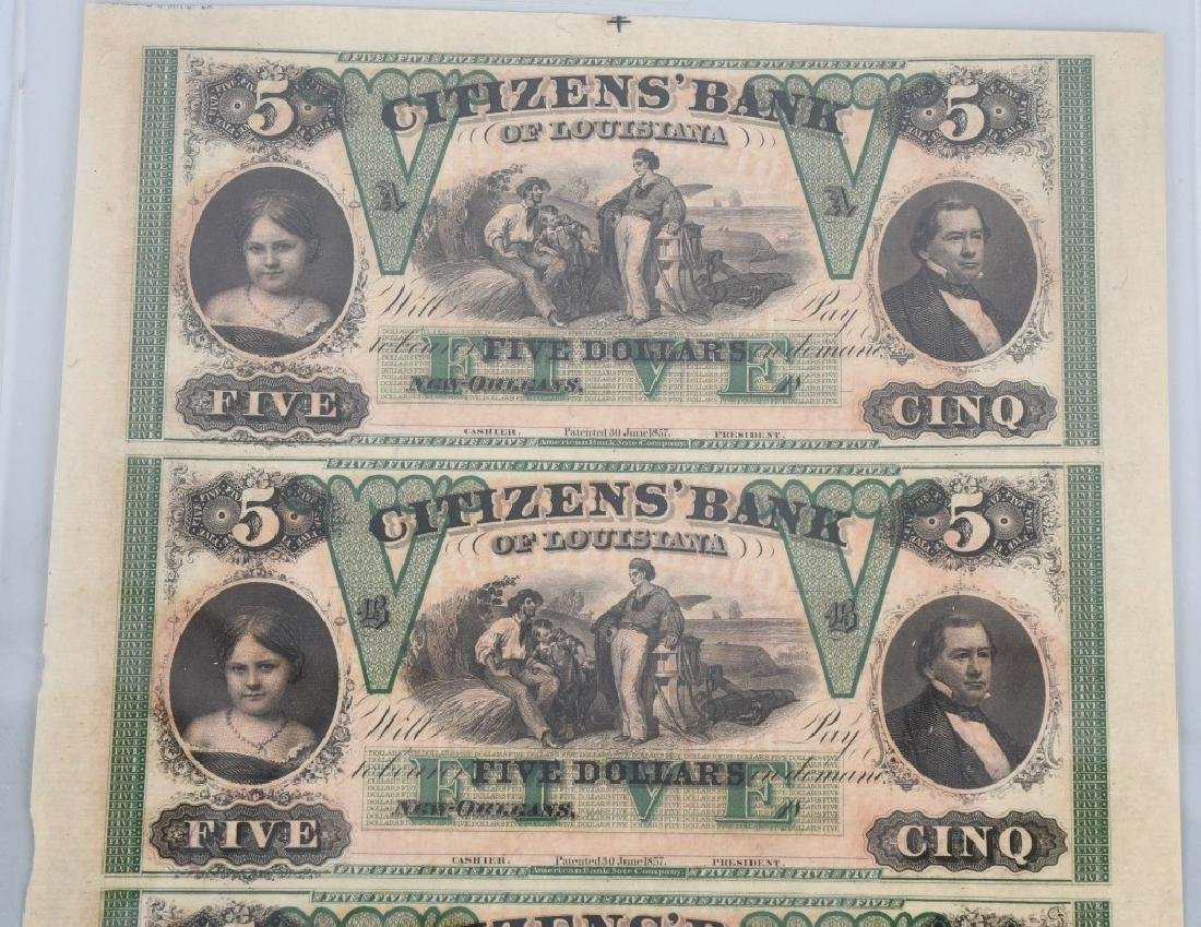 LOUISIANA ANTEBELLUM $5.00 NOTE UNCUT SHEET - 2