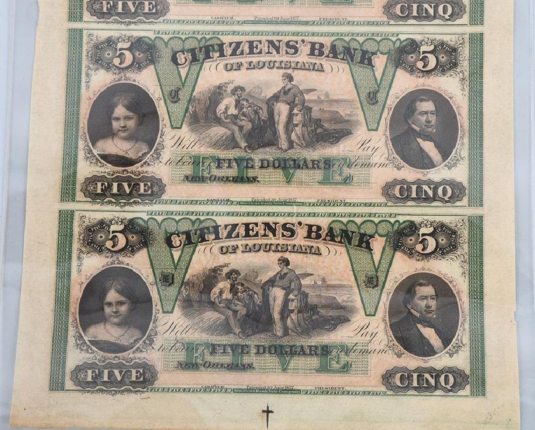 LOUISIANA ANTEBELLUM $5.00 NOTE UNCUT SHEET - 3