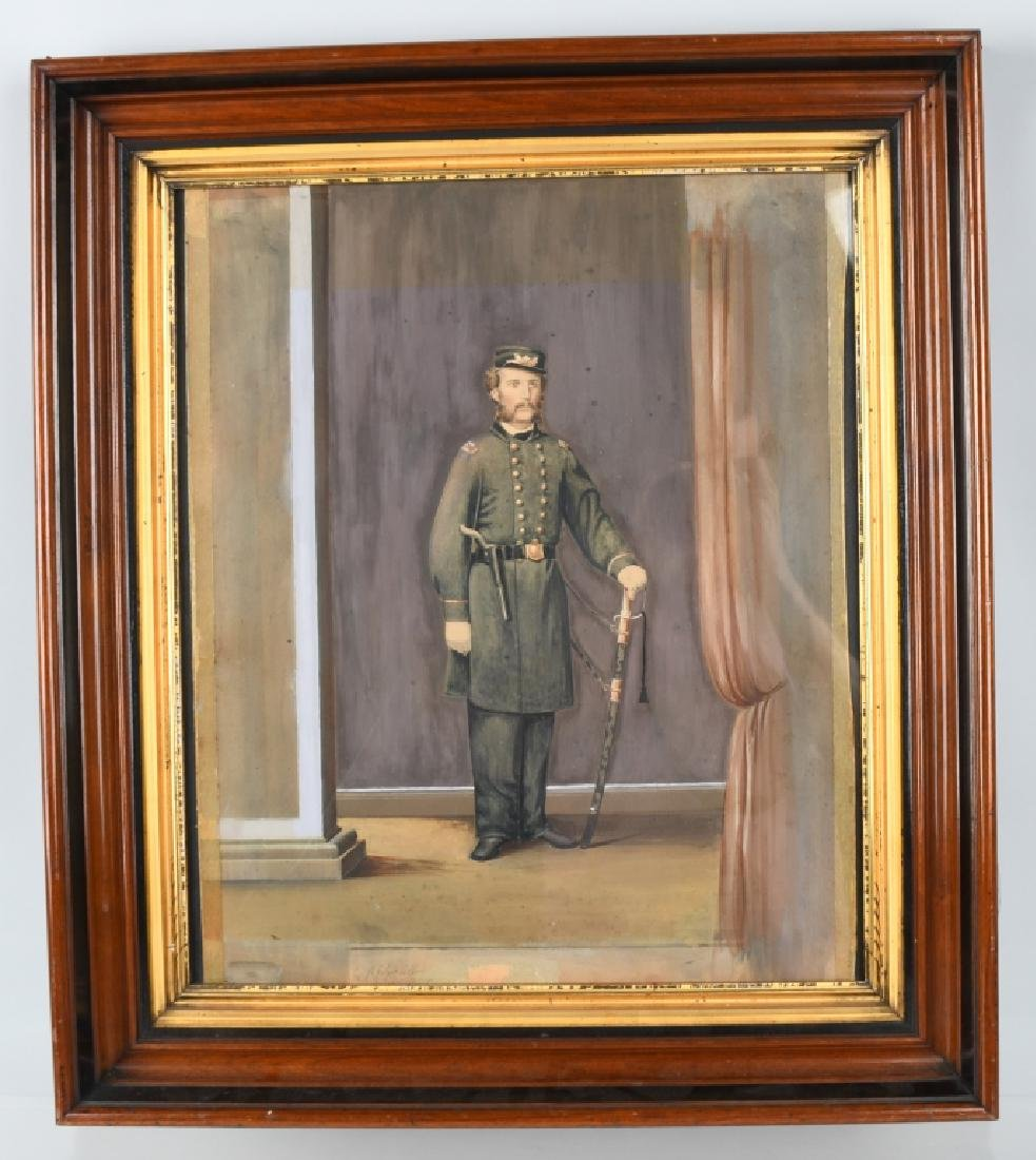CIVIL WAR IDED PAINTING OF A U.S. NAVAL OFFICER