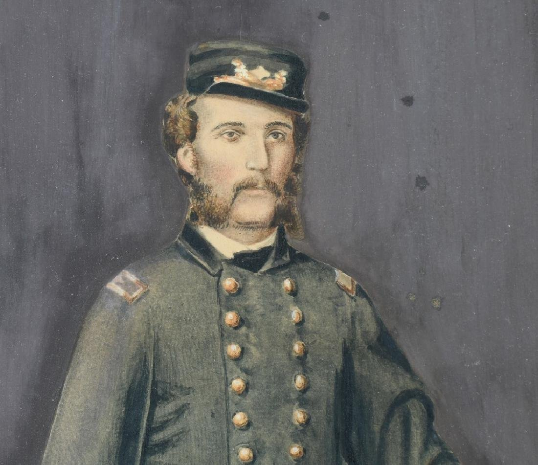 CIVIL WAR IDED PAINTING OF A U.S. NAVAL OFFICER - 2