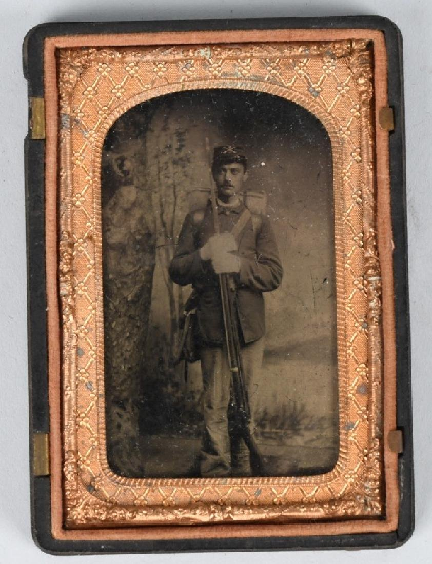 INDIAN WARS 1/8TH TINTYPE SOLDIER ARMED W/ RIFLE