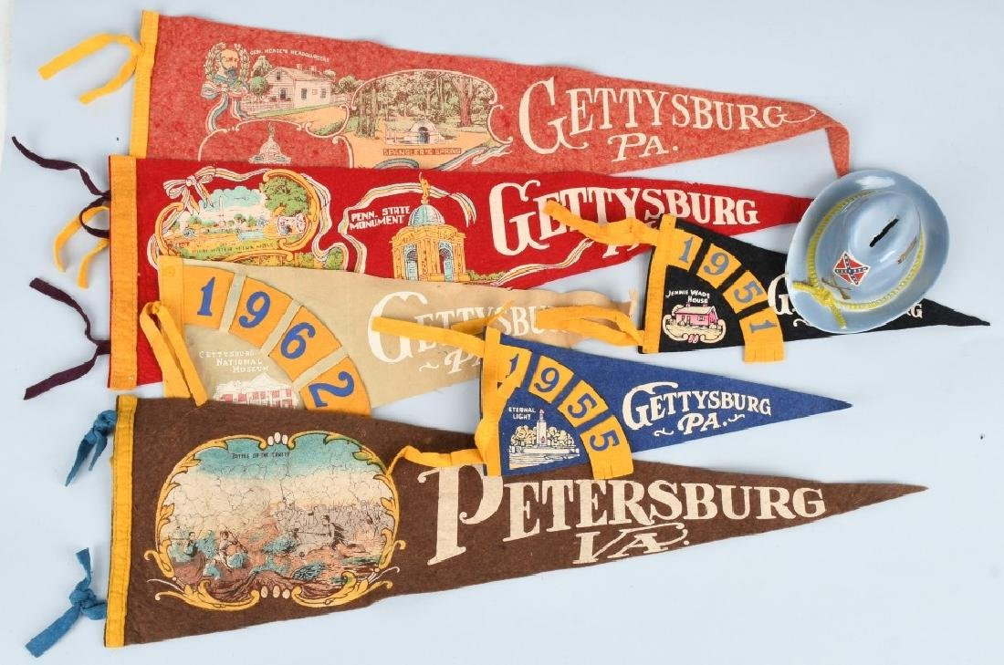 CIVIL WAR GETTYSBURG PENNANTS AND CONFEDERATE BANK