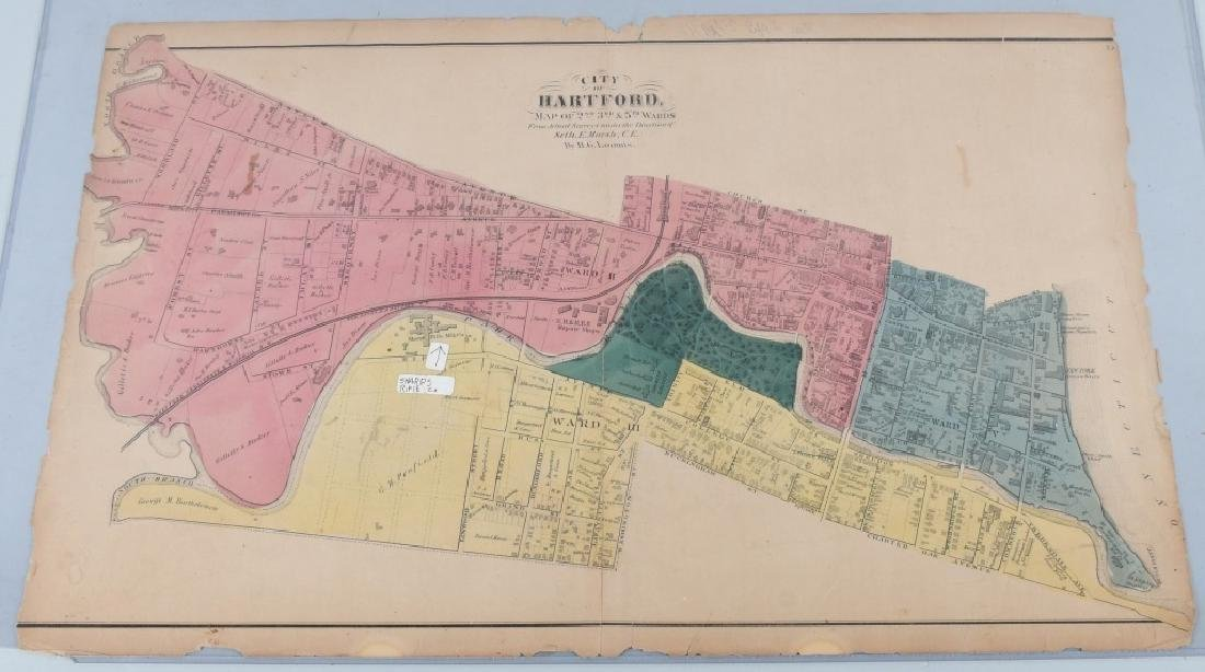 CIVIL WAR ERA MAP HARTFORD CT SHARPS RIFLE FACTORY