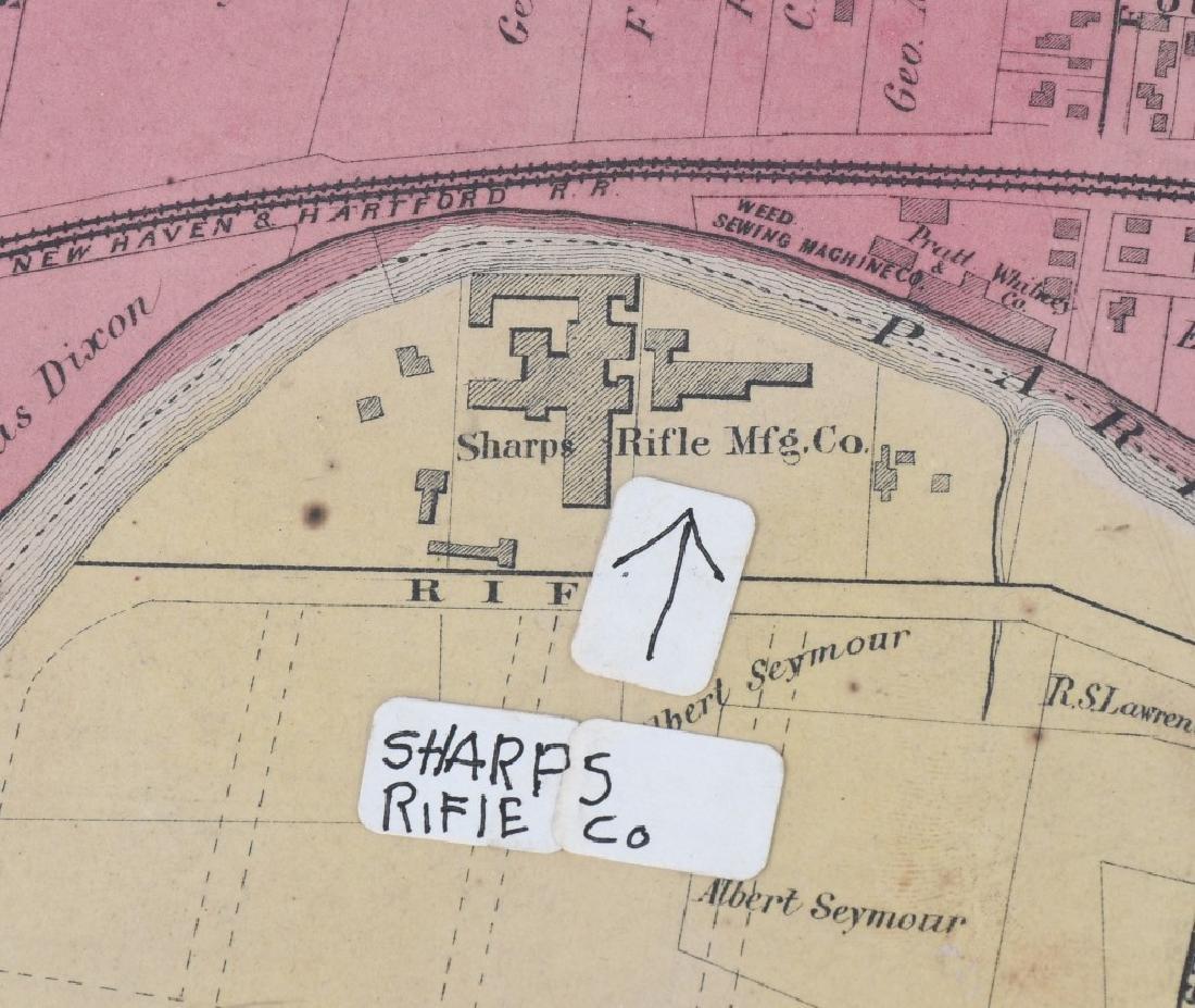 CIVIL WAR ERA MAP HARTFORD CT SHARPS RIFLE FACTORY - 2
