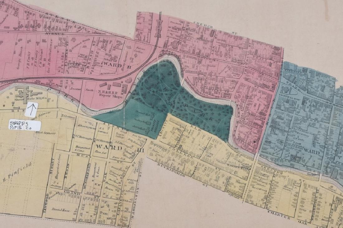 CIVIL WAR ERA MAP HARTFORD CT SHARPS RIFLE FACTORY - 4