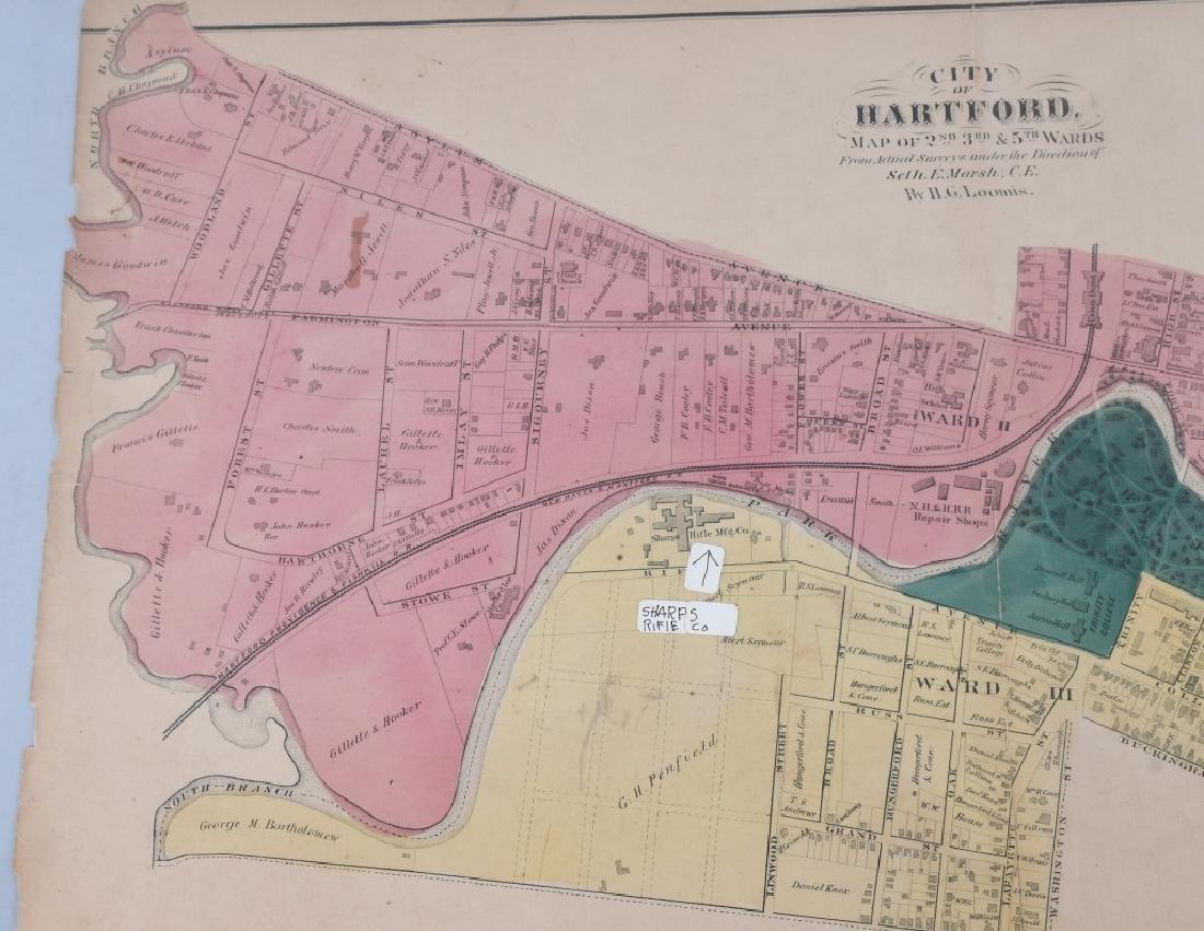 CIVIL WAR ERA MAP HARTFORD CT SHARPS RIFLE FACTORY - 5
