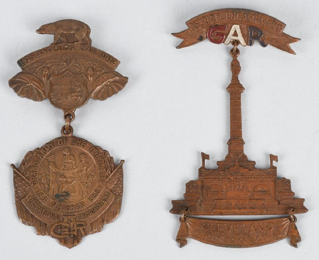 CIVIL WAR GAR NATIONAL ENCAMPMENT BADGES 1901 & 12