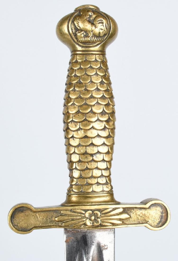 19th CENT. FRENCH ROOSTER POMMEL SHORT SWORD - 3