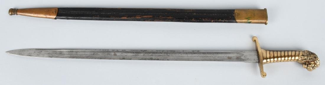 19th CENT. GERMAN LION HEAD ARTILLERY SHORT SWORD