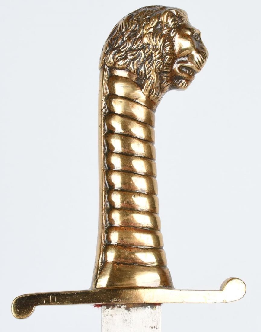 19th CENT. GERMAN LION HEAD ARTILLERY SHORT SWORD - 3