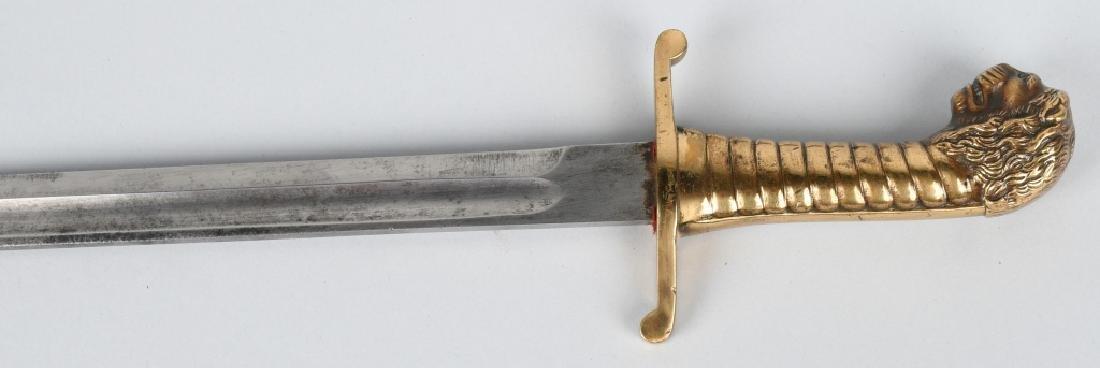 19th CENT. GERMAN LION HEAD ARTILLERY SHORT SWORD - 8