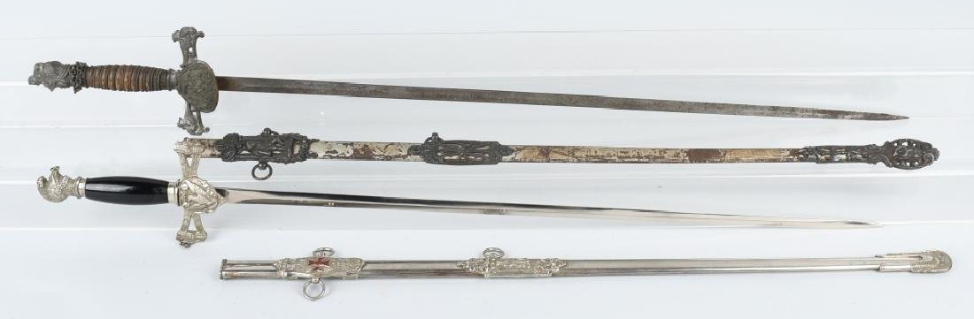 KNIGHTS OF PYTHIAS SWORD IDED & AN UNIDED SWORD