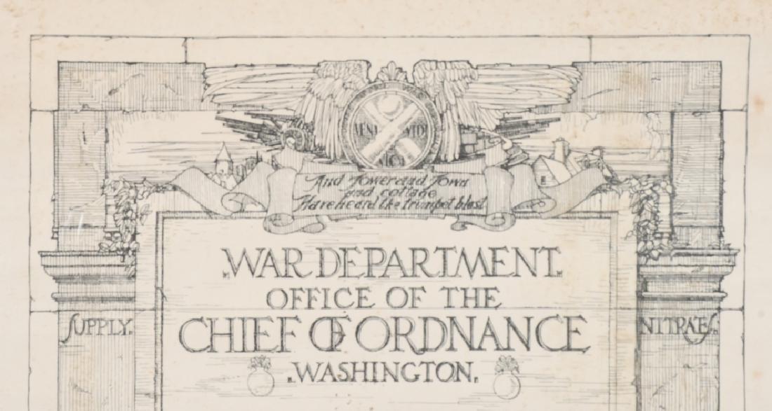 WWI US WAR ORDNANCE DEPT CERTIFICATE WOMAN WORKER - 2