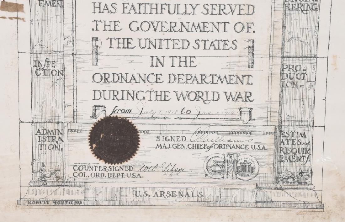 WWI US WAR ORDNANCE DEPT CERTIFICATE WOMAN WORKER - 4