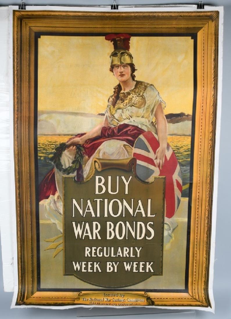 "WWI BRITISH NATIONAL WAR BONDS POSTER 37.5"" X 57.5"
