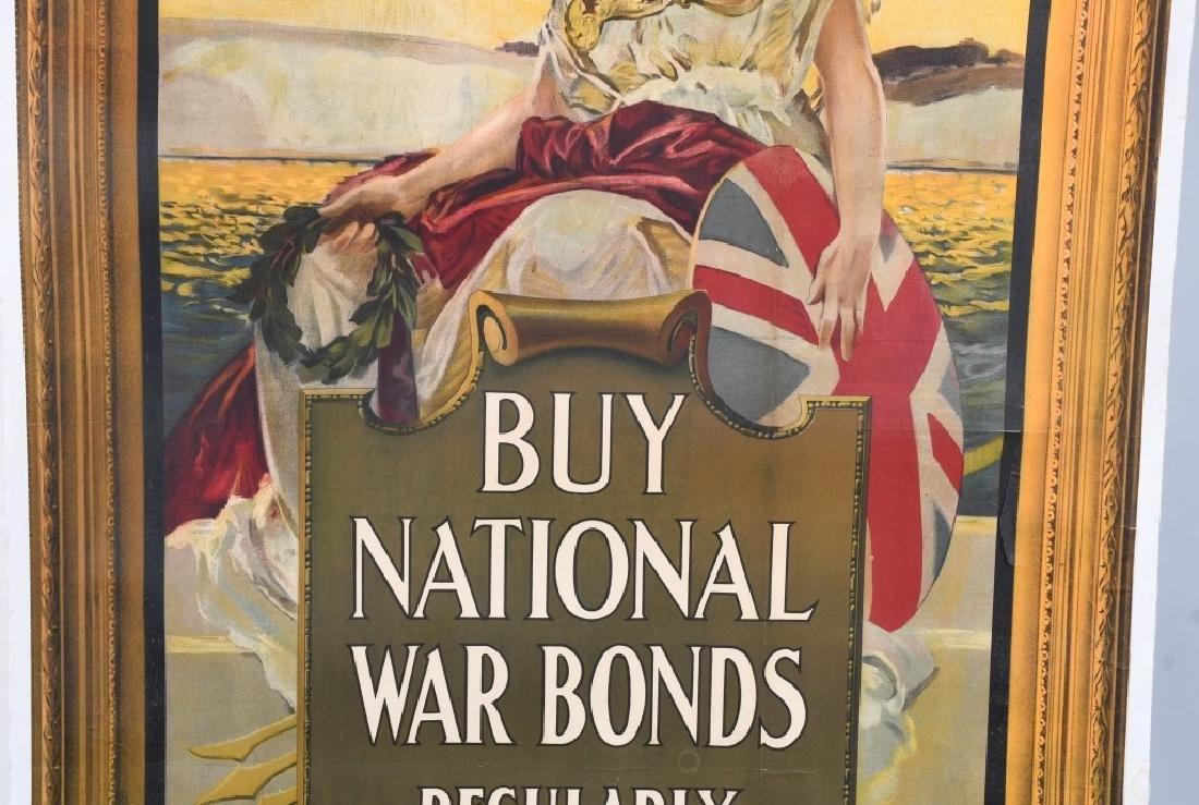"WWI BRITISH NATIONAL WAR BONDS POSTER 37.5"" X 57.5 - 3"