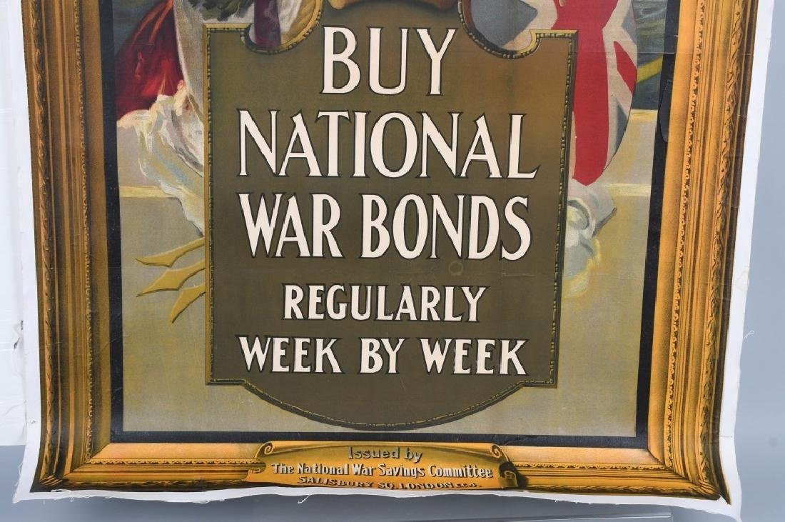 "WWI BRITISH NATIONAL WAR BONDS POSTER 37.5"" X 57.5 - 4"