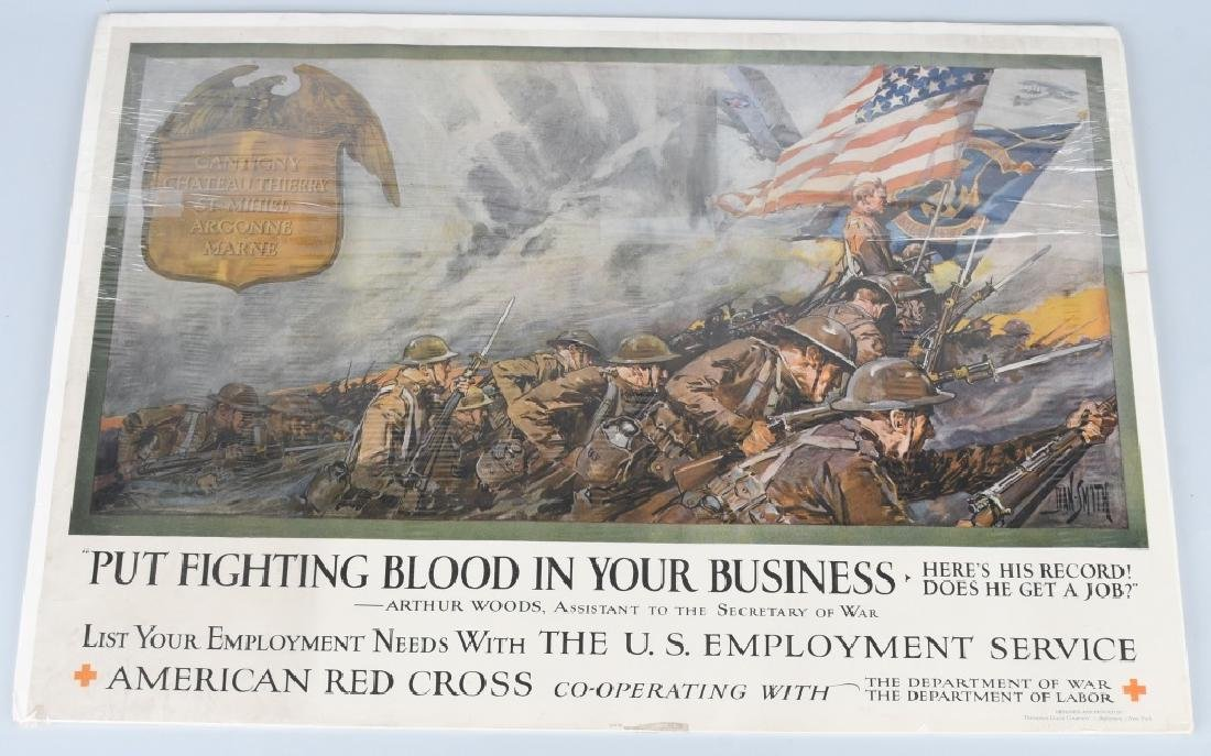 WWI AMERICAN RED CROSS POSTER - EMPLOY VETERANS