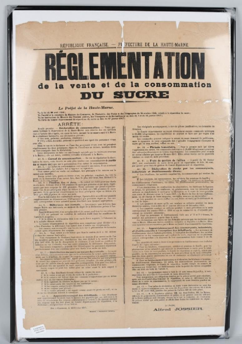 WWI FRENCH 1917 POSTER RE: SUGAR RATIONING