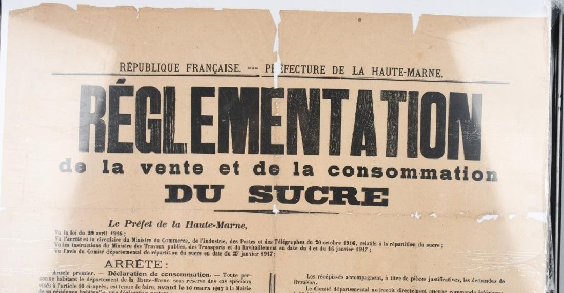 WWI FRENCH 1917 POSTER RE: SUGAR RATIONING - 2