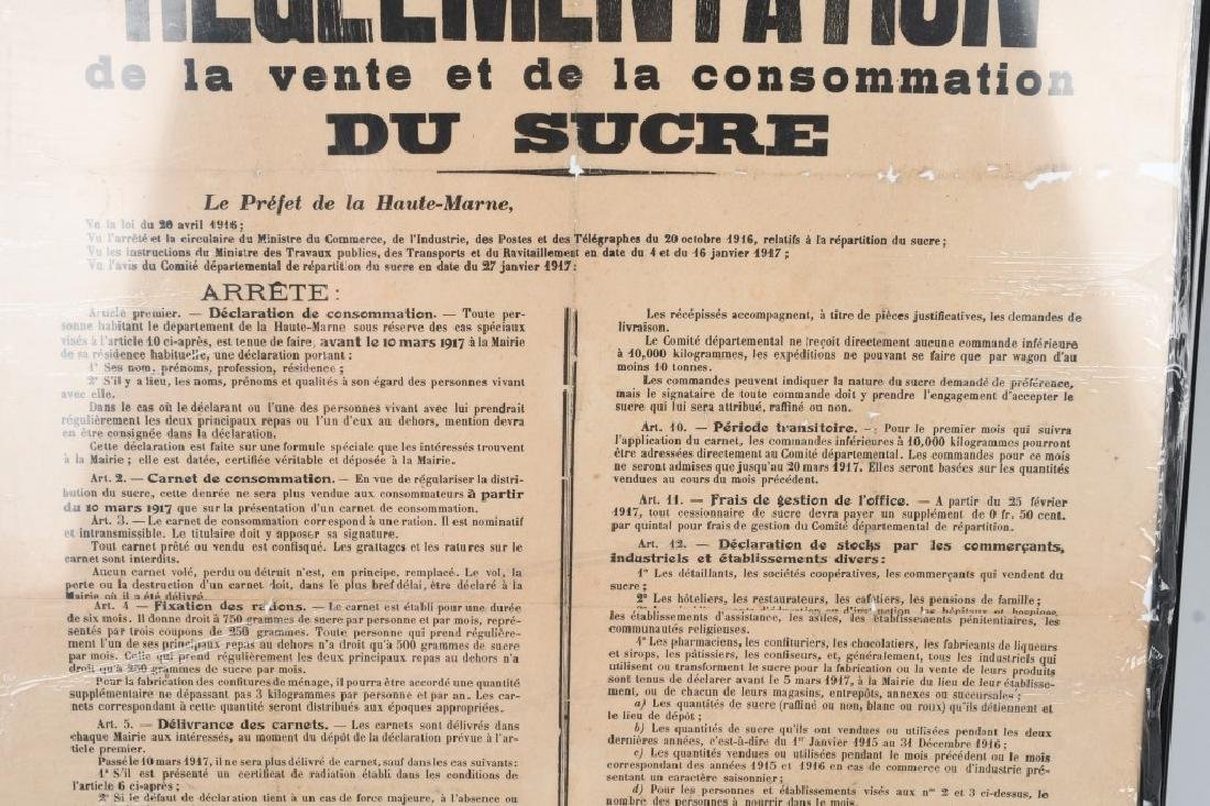 WWI FRENCH 1917 POSTER RE: SUGAR RATIONING - 3