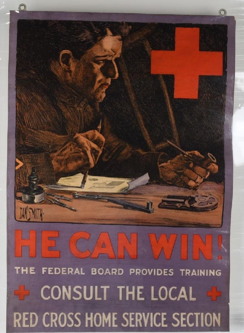 "WWI U.S. AMERICAN RED CROSS ""HE CAN WIN'"" POSTER"