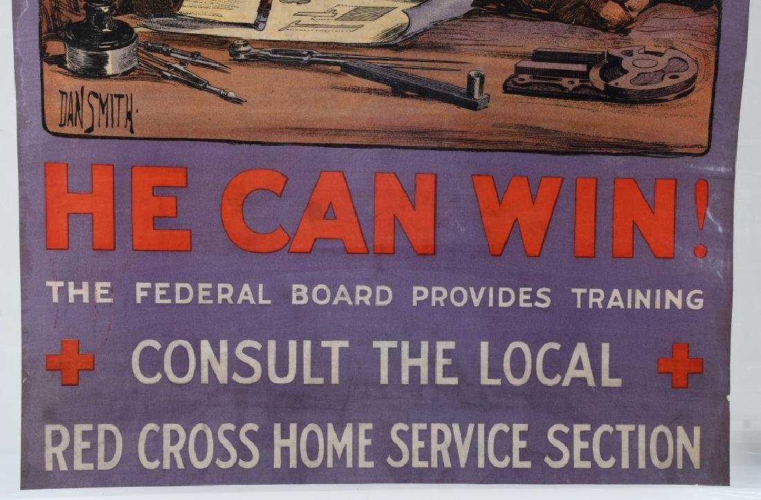 "WWI U.S. AMERICAN RED CROSS ""HE CAN WIN'"" POSTER - 4"