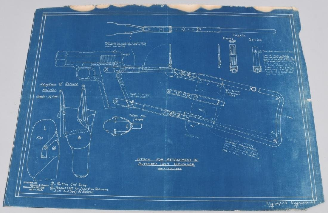 WWI 1918 DRAWING - BLUEPRINT FOR COLT M1911 STOCK